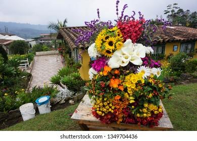 Santa Elena, Antioquia Province, Colombia, February 27, 2019. Colourful Flower Arrangement at a Local Flower Farm