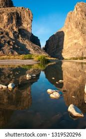 Santa Elena Canyon And Rio Grande. A view of Santa Elena Canyon in Big Bend National Park.