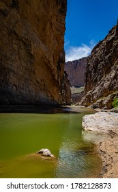 Santa Elena Canyon and the Rio Grande River at Big Bend National Park in Texas form the border between the United States and Mexico.