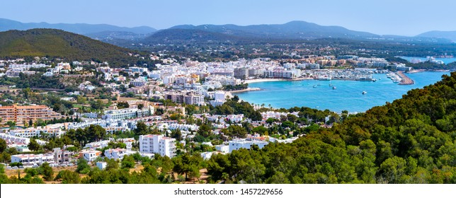 Santa Eulalia Eularia des Riu skyline Ibiza at Balearic Islands