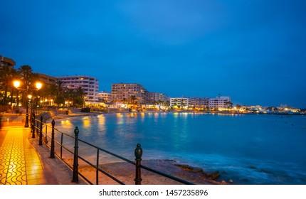 Santa Eulalia of Ibiza sunset beach in Balearic Islands of Spain Eularia