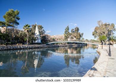 SANTA EULARIA DES RIU, SPAIN- JANUARY 12, 2018: River view, the only river on the island.Santa Eularia des Riu, Ibiza, Spain.