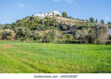 SANTA EULARIA DES RIU, SPAIN- JANUARY 12, 2018: Landscape with puig de missa hill in Santa Eularia des Riu, Ibiza, Spain.