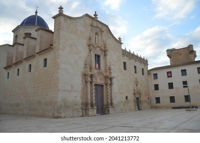 Santa Faz, Alicante, Spain - July 27, 2021:Baroque style 17th century catholic church monastery visited annually during Easter Pilgrimage to Santa Faz where thousands walk to enter the building.