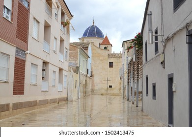 SANTA FAZ DE ALICANTE, SPAIN - SEPTEMBER 11, 2019: Walkway thousands annually walk to Santa Faz Church (Monastery of the Holy Face) to celebrate woman who offered her veil to wipe Jesus' face of blood