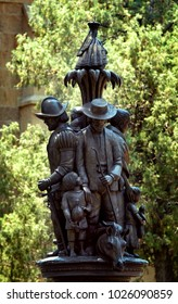 Santa Fe Cathedral Park and Monument commemorates the Spanish coloniztion of New Mexico.  This statue stands downtown Santa Fe, New Mexico.