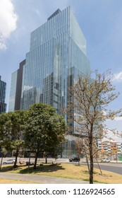 Santa Fe, Mexico City, June 9, 2018, modern arquitecture in fast developing business district