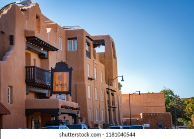 Santa Fe, New Mexico, USA - September 19, 2017: Located at 100 E. San Francisco Street is the landmark La Fonda Hotel and is adjacent to the historic Santa Fe Plaza.