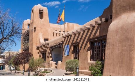 SANTA FE, NEW MEXICO, USA, April, 4, 2014: Exterior view of the New Mexico Museum of Art, downtown, Santa Fe, New Mexico