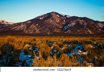 Santa Fe New Mexico USA sunset Sanger de cristo mountain range at Taos New Mexico during fall color changing and first snowfall