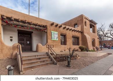 SANTA FE, NEW MEXICO, USA - DECEMBER 25, 2017:   New Mexico Museum of Art, Sa Fntae, New Mexico USA