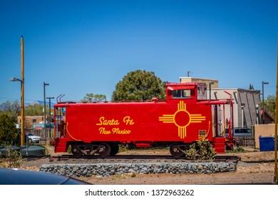 Santa Fe, NM, USA - April 14, 2018: An old fashioned scenic railroad car