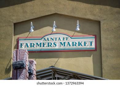 Santa Fe, NM, USA - April 14, 2018: The Santa Fe Farmers Market welcoming signboard