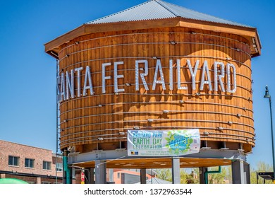 Santa Fe, NM, USA - April 14, 2018: The Santa Fe Railyard welcoming signboard