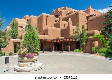 Santa Fe, NM/USA - circa June 2016: Classical Adobe Pueblo revival architecture of Loretta Hotel in Santa Fe, New Mexico, USA