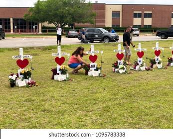 Santa Fe, Texas May 21st 2018: Memorial crosses set up outside of Santa Fe High School after a student gunman shot 10 people on May 18th 2018