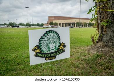 Santa Fe, Texas May 21st 2018: Pray for Santa Fe sign outside of Santa Fe High School after a student gunman shot multiple people killing 10
