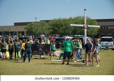 Santa Fe, Texas, USA, May 29th 2018: Students hold memorial service before returning back to school after gunman killed 10 people on May 18th 2018