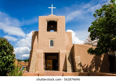Santa Fe, USA - July 30, 2015: San Miguel Mission chapel church, the oldest in the United States, decorated in adobe pueblan style