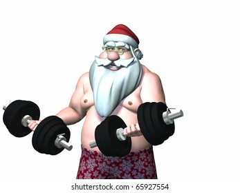 Santa Fitness 10. Santa Working Out with Barbells.  Isolated.