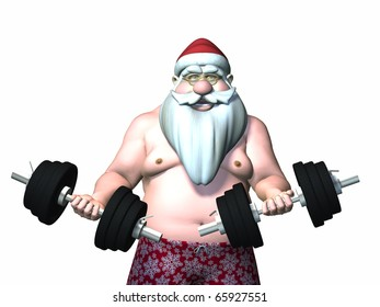 Santa Fitness 9. Santa Working Out with Barbells.  Isolated.