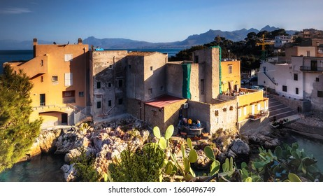 Santa Flavia, Sicily/Italy - March 01 2020: Coastal Town of Santa Flavia on a warm spring day in March