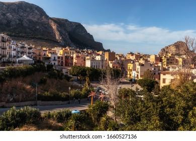 Santa Flavia, Sicily/Italy - March 01 2020: Coastal Town of Santa Flavia on a warm spring day