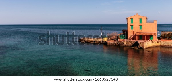 Santa Flavia, Sicily/Italy - March 01 2020: Coastal Town of Santa Flavia on a warm spring day