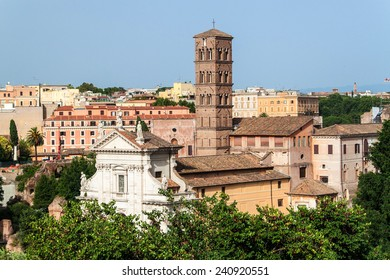 Santa Francesca Romana Church situated next to the Roman Forum in Rome, Italy