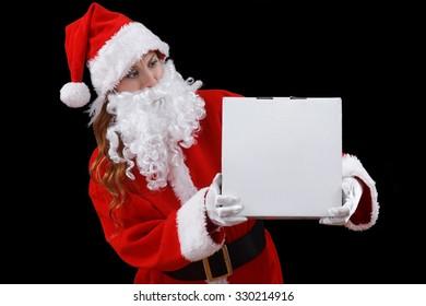 Santa girl holding christmas gift.
