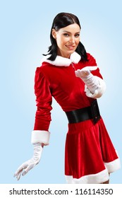 Santa Girl presenting your product, in costume and white gloves