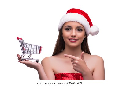 Santa girl with shopping cart isolated on white