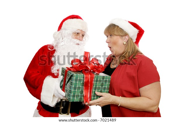 Santa giving a Christmas gift to his wife.  Isolated on white background.