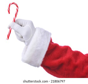 Santa Hanging Candy Cane isolated over white