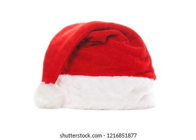 Santa hat isolated on white background. Happy xmas hollidays. Santa hat at studio. Christmas, xmas, winter concept.