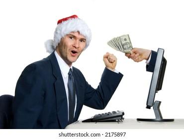 santa hat man winning the lottery on internet