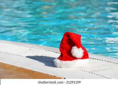 Santa hat near the swimming pool