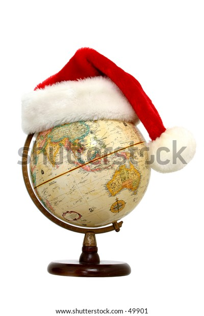 Santa hat on a globe with Australia, China and India facing out.  Isolated on white.