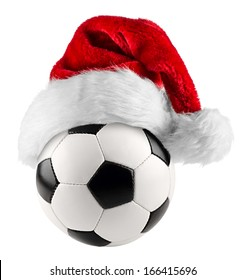 santa hat on soccer ball on white background