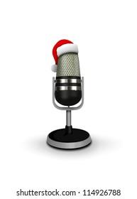 Santa Hat on vintage microphone