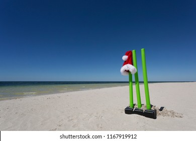 A Santa Hat perched on cricket wickets, an Australian tradition during the Christmas period.