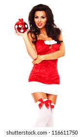santa helper girl on white background with long hair and red balls
