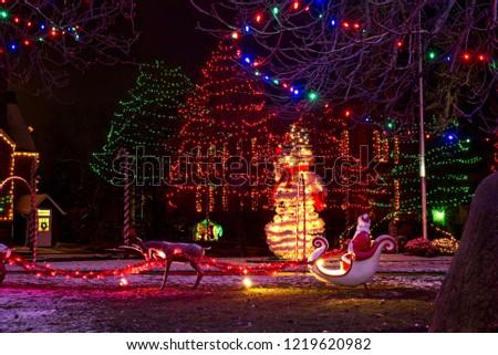 santa his sleigh reindeer giant snowman stock photo edit now