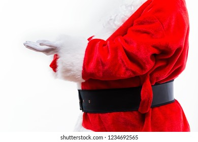 Santa with holding gesture isolated on white background