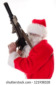 Santa holding a gun, in a sneaking position - white isolation