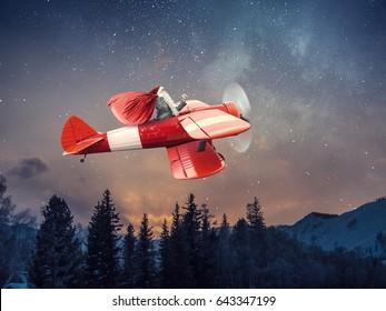 Santa hurrying up to deliver gifts. Mixed media . Mixed media