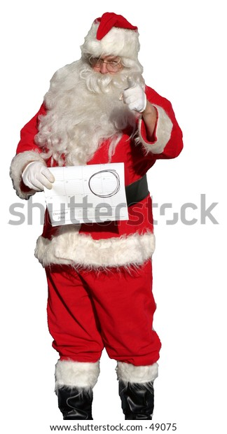 """Santa isolated stands holding a calendar with Dec. 25th circled in black, while holding his finger up in the air as if to say """"Don't forget, there are only x number of days before christmas!"""""""