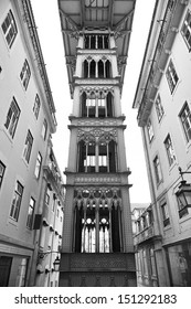 The Santa Justa elevator in Lisbon (also known as the Elevator of Carmo) in Portugal. Built by Portugal-born French architect Raoul de Mesnier du Ponsard (an apprentice of Gustave Eiffel).