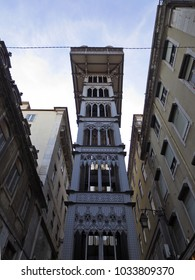 Santa Justa Lift in Lisbon. Europe, downtown.