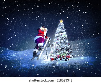 Santa Lamp on a Step-Ladder Christmas Tree Concept